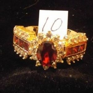 Size 10 Ruby Red & Rhinestone Goldtone Ring